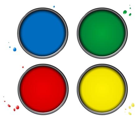 verfblik: Vier kleuren piant blikjes met kleine druppels op een witte achtergrond