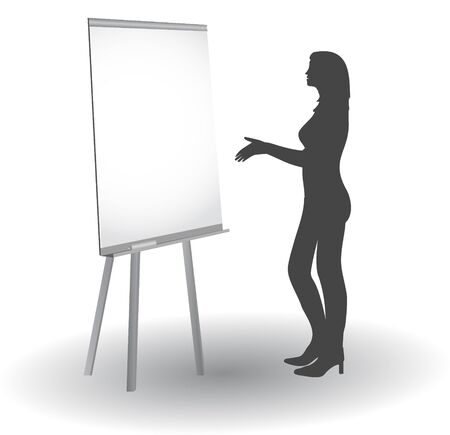 explain: Women at the blackboard explaining disciples material, vector silhouettes