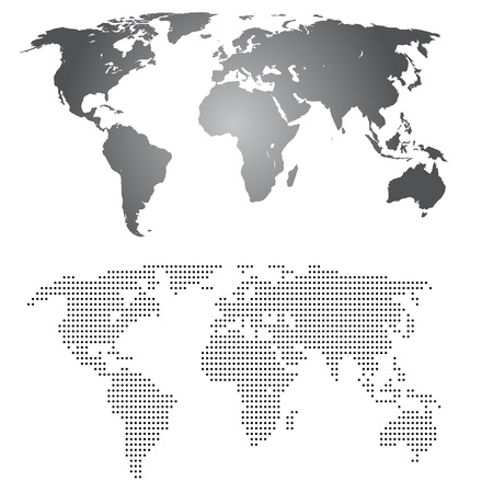 World maps , grey gradient and made from dotts Stock Vector - 11030861
