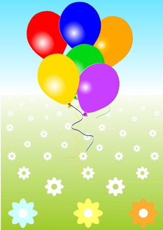 colored balloons: Colored balloons in the sky and meadow, vector illustration