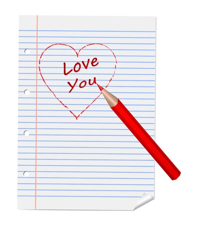 notebook paper background: Heart and