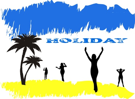 Holiday poster, summer beach and silhouette of women Vector