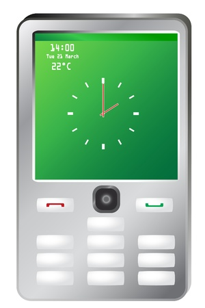 touch screen phone: Vector illustration of mobile phone with clock on green screen Illustration