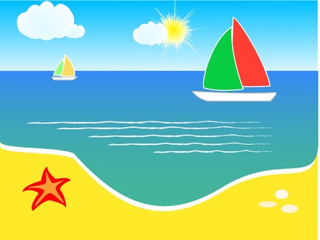 Summer background, beach and yacht on sea  Stock Vector - 11028175
