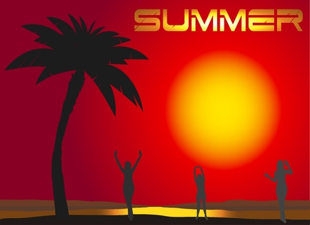 active people in the west of the sun, summer background Stock Vector - 11030605