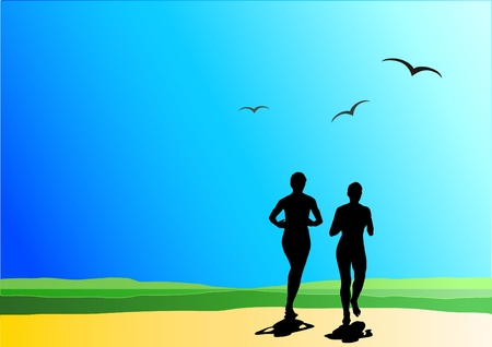 jogging in nature: Two runner on nature, holiday sport background