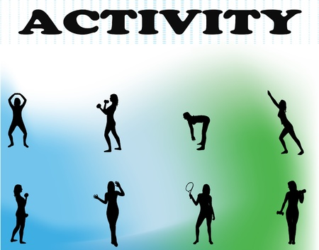 flexible woman: Healthy green background with vector silhouettes of several women doing exercises