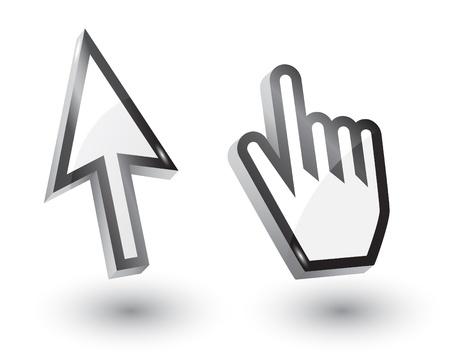 raton: Vector flecha del rat�n y punteros a mano con la sombra, 3d