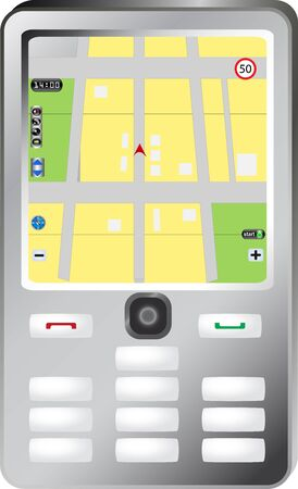 Simple smartphone with navigation map Vector