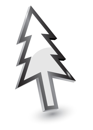 Vector mouse arrow pointers,Xmas tree version, 3d Vector