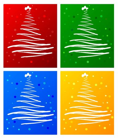 snippet: Set of christmas tree , background vector Illustration