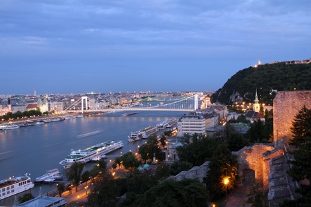 Budapest at night. View on the Elisabeth Bridge and Gellert Hill photo