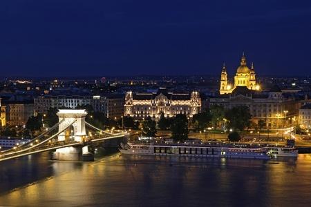 view of chain bridge in Budapest, Hungary photo