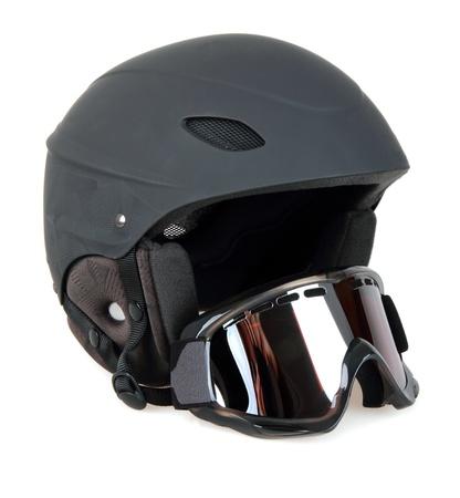 Black ski helmet with goggles isolated on white background Stock Photo - 11727176