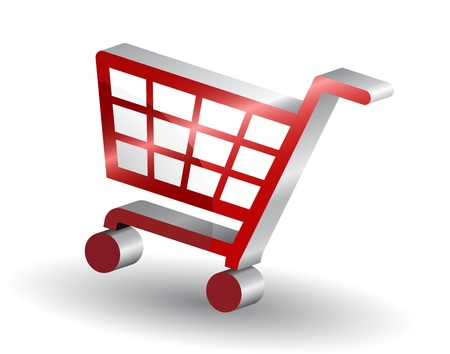 e retailers: Red shopping basket sign, 3d