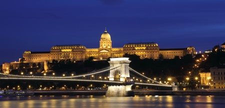 Famous Hungarian landmarks, Chain Bridge, Royal Palace and Danube river in Budapest photo