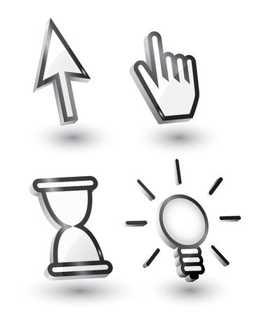 mouse cursors (pointers): arrow, hand, bulb hourglass with shadow,3d Vector