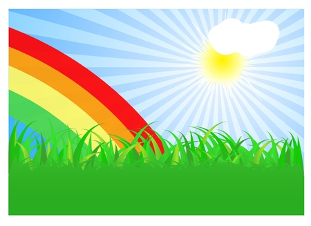 Summer landscape with rainbow. Vector