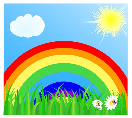 Summer landscape with a rainbow, the blue sky, the sun, cloud and a green grass. Vector