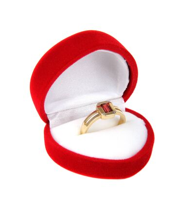 Luxury ring in red box using as  Love or Valentine Concept Stock Photo - 12507426
