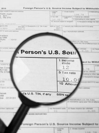 Tax forms , U.S Individual Income Tax Return. photo