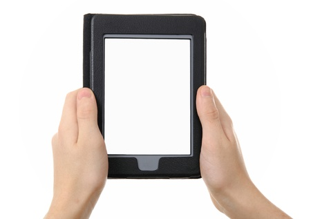 hands holding  empty electronic e-reader for book photo