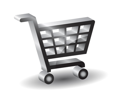 cart icon: Black  shopping basket sign, 3d