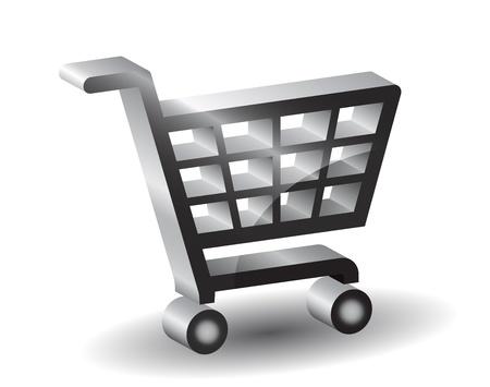 carro supermercado: Negro de compras signo canasta, 3d