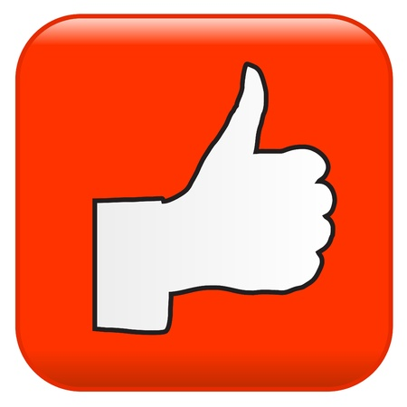 approve icon: Red button with  Hand OK sign Illustration