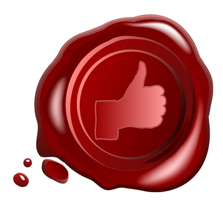 confirm: Red wax seal vector with Hand OK sign