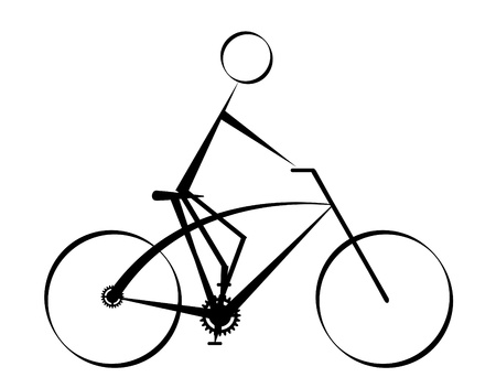 cyclist silhouette:  cyclist icon -  vector illustration