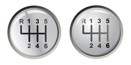 palanca: Dos palos de engranajes de plata, vector Vectores