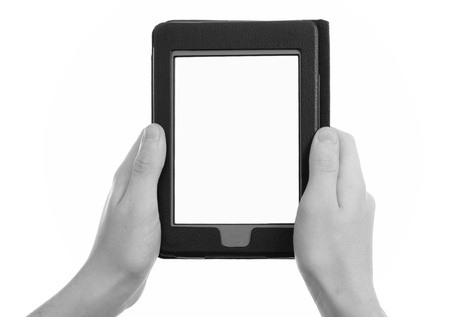 ereader: hands holding electronic e-reader,  b w tone Stock Photo