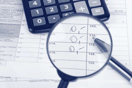 taxation: Magnifying glass over the tax form