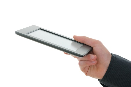deprived: E-reader and hand  The reader is deprived of all brand names and buttons