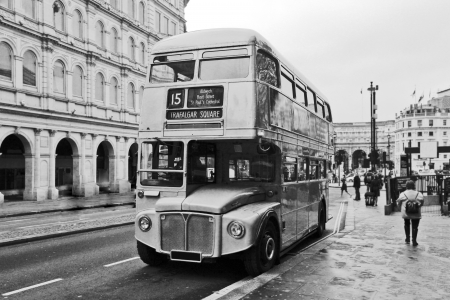 Vintage double decker bus in London, black and white