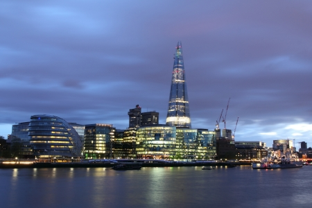 shard of glass: New London city hall at night , panoramic view from river
