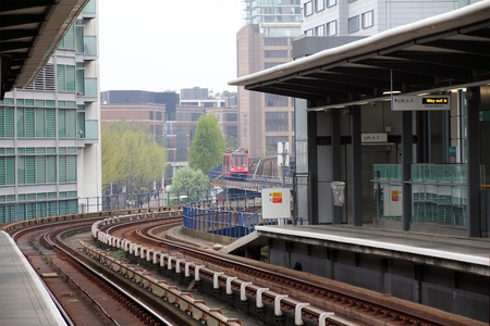 A Docklands Light Rail station in new London City photo