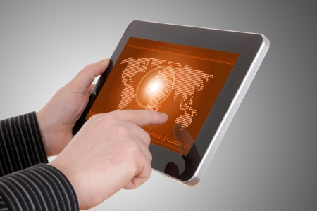 Digital world concept graphic, including digital map on tablet , on businessman hands Stock Photo - 14074969