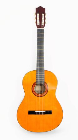 stringed: Classical acoustic guitar, isolated on white background Stock Photo