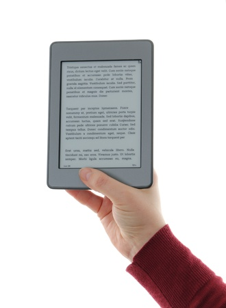deprived: Holding E-book reader in hands, isolated on white, The reader is deprived of all brand names and buttons, includes a sample text Lorem Ipsum, which is the text used as an example of a filler in the printing industry