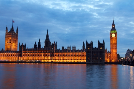 houses of parliament: Westminster Bridge with Big Ben in London