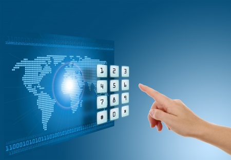 Hand pushing touch screen button with blue background with map photo