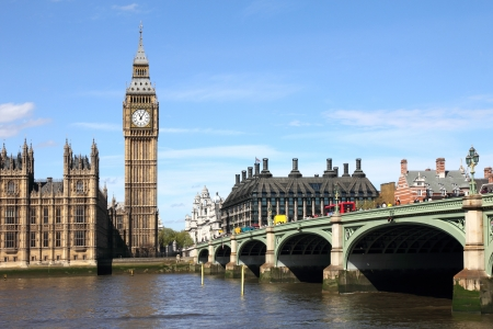 england: Big Ben and Westminster bridge, London Editorial