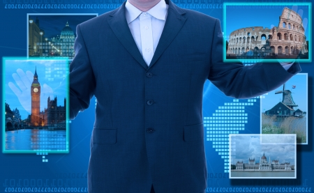 portals: man looking for tourism information using futuristic touch interface Stock Photo