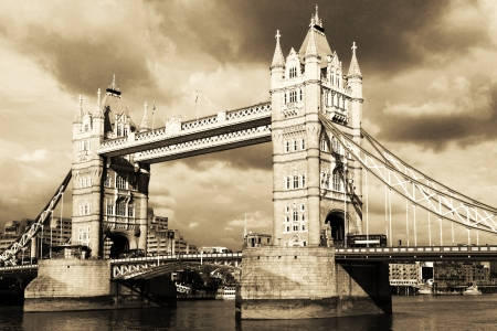 Vintage view of Tower Bridge, London  Sepia toned  photo
