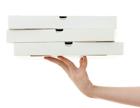 food distribution: pizza box with hand  , isolated on white background Stock Photo
