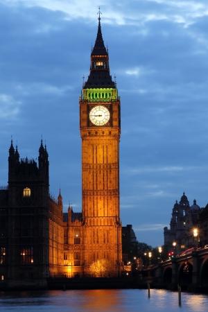 england big ben: Illuminated Big Ben at night