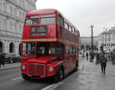 London, UK -May 06, 2012 :red colored double decker bus in the street in London