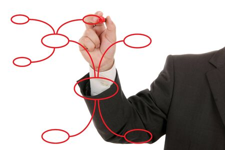 Businessman drawing a mind map, isolated